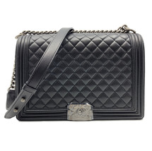 Chanel Black Caviar Quilted Ruthenium Tone Large Boy Flap Bag A67087Y833... - $7,649.00