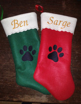"19"" Embroidered  Personalized Pet Christmas Stocking - Dog - $13.95"