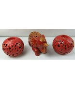 2 Red Ceramic Pottery Candle Holder Ball & 1 Elephant Indian Buddha Zen ... - $65.00