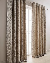 DAMASK GREY CREAM LINED RING TOP CURTAINS & 2 X FILLED CUSHIONS *8 SIZES* - $65.12+