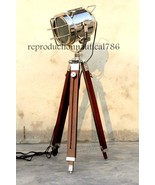 Vintage Modern Floor Lamp With Led Bulb/ Wooden tripod home office Decor... - $64.55