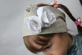 Linen organic Headscarf Headband, Hair Band Headscarves with white roses Head Sc - $12.00