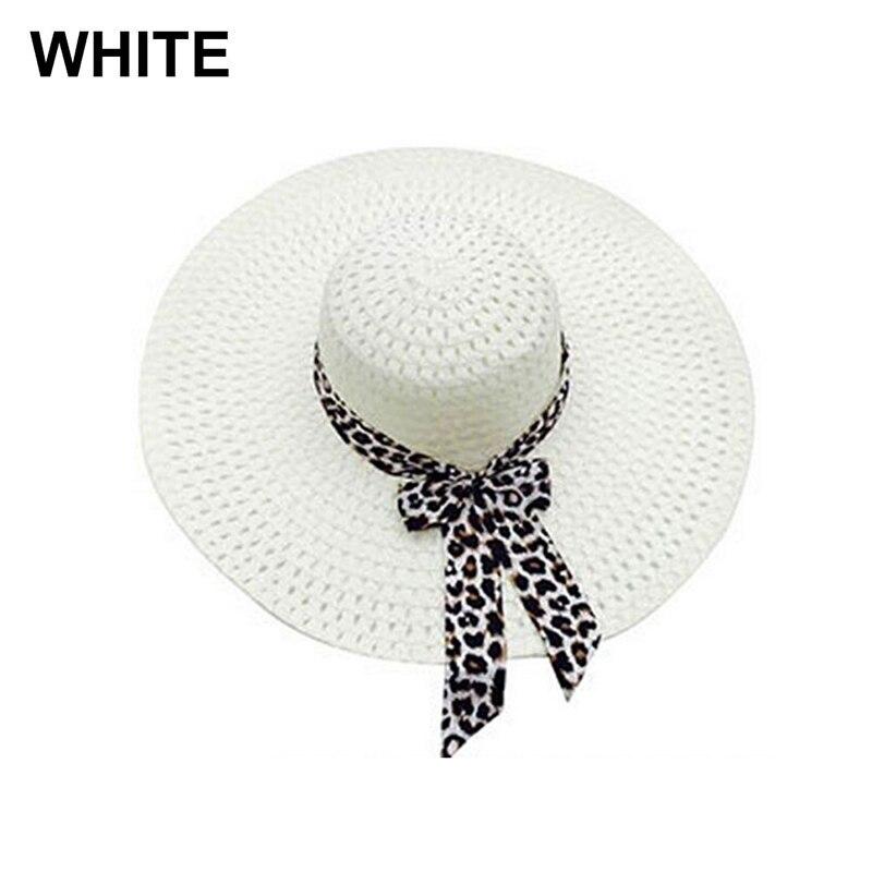 NEW 2019 Bowknot Flat Straw Beach Hat Women Floppy Fashion Lady Fold Wide Brim D