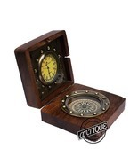 WOODEN TABLE COMPASS CLOCK CLASSIC REPLICA NAUTICAL MARINE BRASS CLOCK H... - $28.05