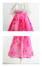 Summer Pink Floral Midi Party Skirt Outfit Organza Plus Size Midi Skirt Pockets image 7