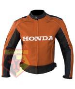 HONDA 5523 ORANGE MOTORCYCLE MOTORBIKE ARMOURED COWHIDE LEATHER JACKET FOR MEN - $184.99