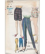 Vintage Sewing Pattern Vogue 5126 Pants Shorts Pedal Pushers 1960s Waist 25 - $7.91