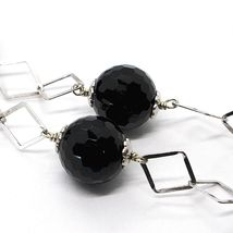 SILVER 925 NECKLACE, ONYX BLACK FACETED, LENGTH 45 CM, CHAIN RHOMBUSES image 3