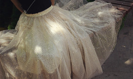 GOLD Sequin Tulle Midi Skirt Women Gold Sparkly Skirt Plus Size Party Skirt image 11