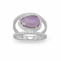 .925 Sterling Silver Plated Amethyst and CZ Split Band Women's Ring - $56.06