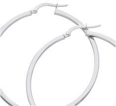 18K WHITE GOLD CIRCLE EARRINGS DIAMETER 40 MM WITH SQUARE TUBE, MADE IN ITALY image 1