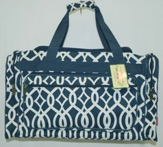 NGIL BIQ423NAVY Geometric Vine Print Canvas Duffle Bag Colors Navy and White image 1