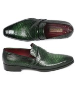 Paul Parkman Mens Shoes Loafers Green Genuine Python Slip-On Handmade 11... - $709.99