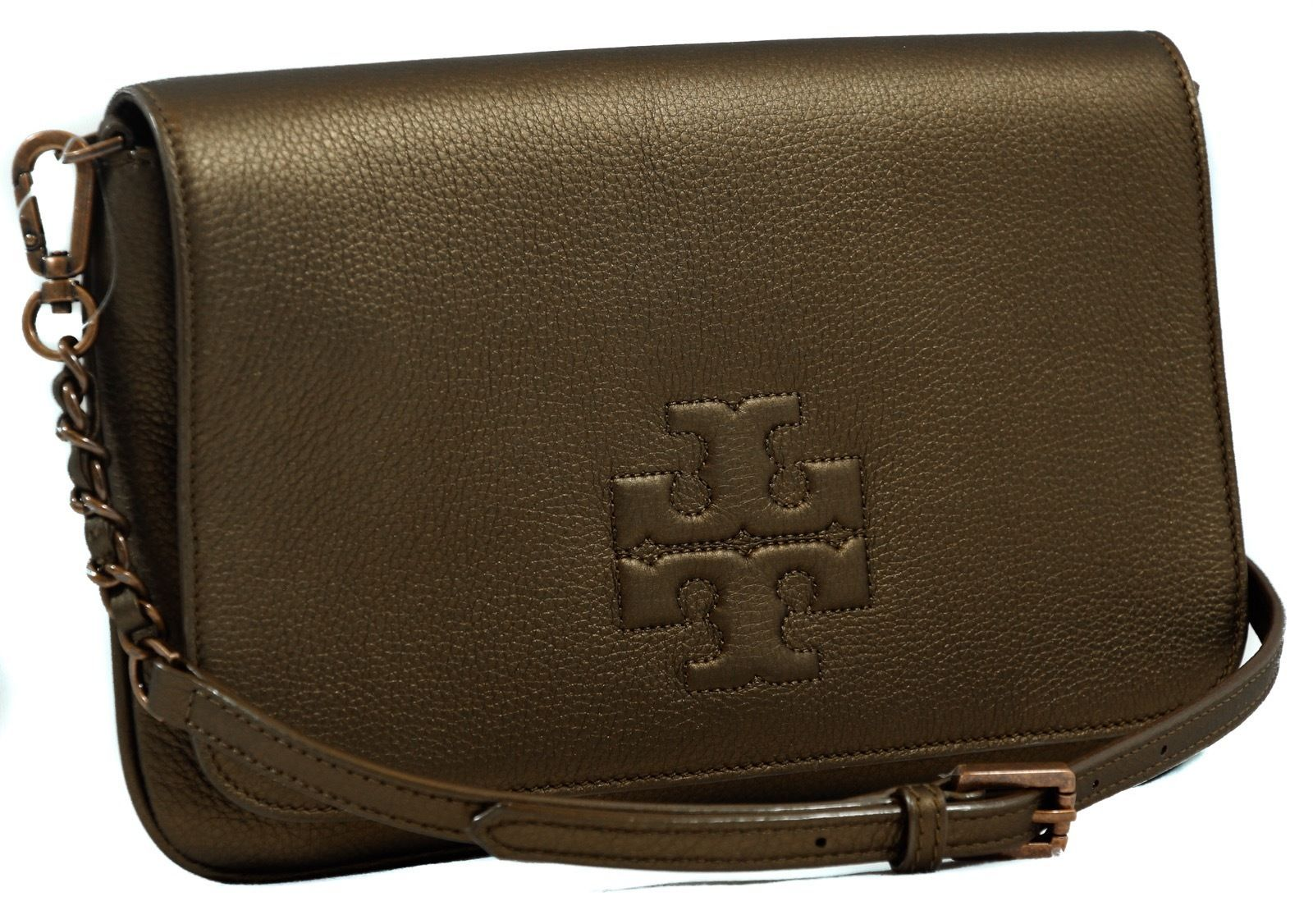 Primary image for NWT TORY BURCH Thea Foldover Crossbody Clutch Bag, Bronze