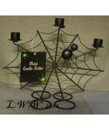 Black Metal Halloween Spider Spider Web Three Candle Holder Candlestick ... - $7.99