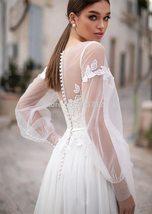 Vintage Lace Applique Long Lantern Sleeve Backless Button Down Floor Length Brid image 3