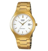 Casio Mens Stainless Steel Analog Watch Gold w/ White Dial Batons - - $47.80