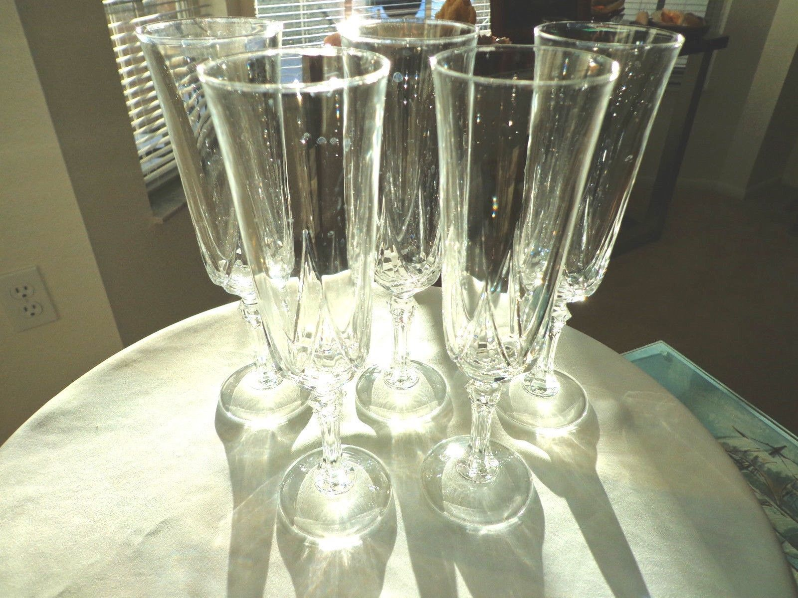 Primary image for Set of 5 Cris D'Arques Autruil Pattern Crystal Champagne Flutes