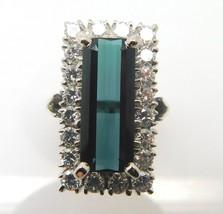 18k Gold 4.92ct Green Genuine Natural Tourmaline Ring w/1.20ct Diamonds ... - $2,133.23