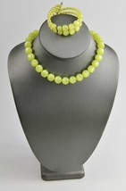 ESTATE VINTAGE Jewelry YELLOW  MOONGLOW PLASTIC SET COIL BRACELET &  NEC... - $35.00