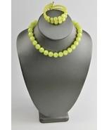 ESTATE VINTAGE Jewelry YELLOW  MOONGLOW PLASTIC SET COIL BRACELET &  NEC... - $35.00