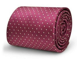 Frederick Thomas Designer Mens Tie - Dark Rose Pink - Pin Spot Polka Dot... - $15.70