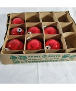 Vintage SHINY BRITE 7 Red Ball Christmas Ornaments Original Box Bottom O... - $9.85