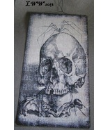 Skull and Spiders Halloween Vintage-look Black and White Metal Sign - $8.99