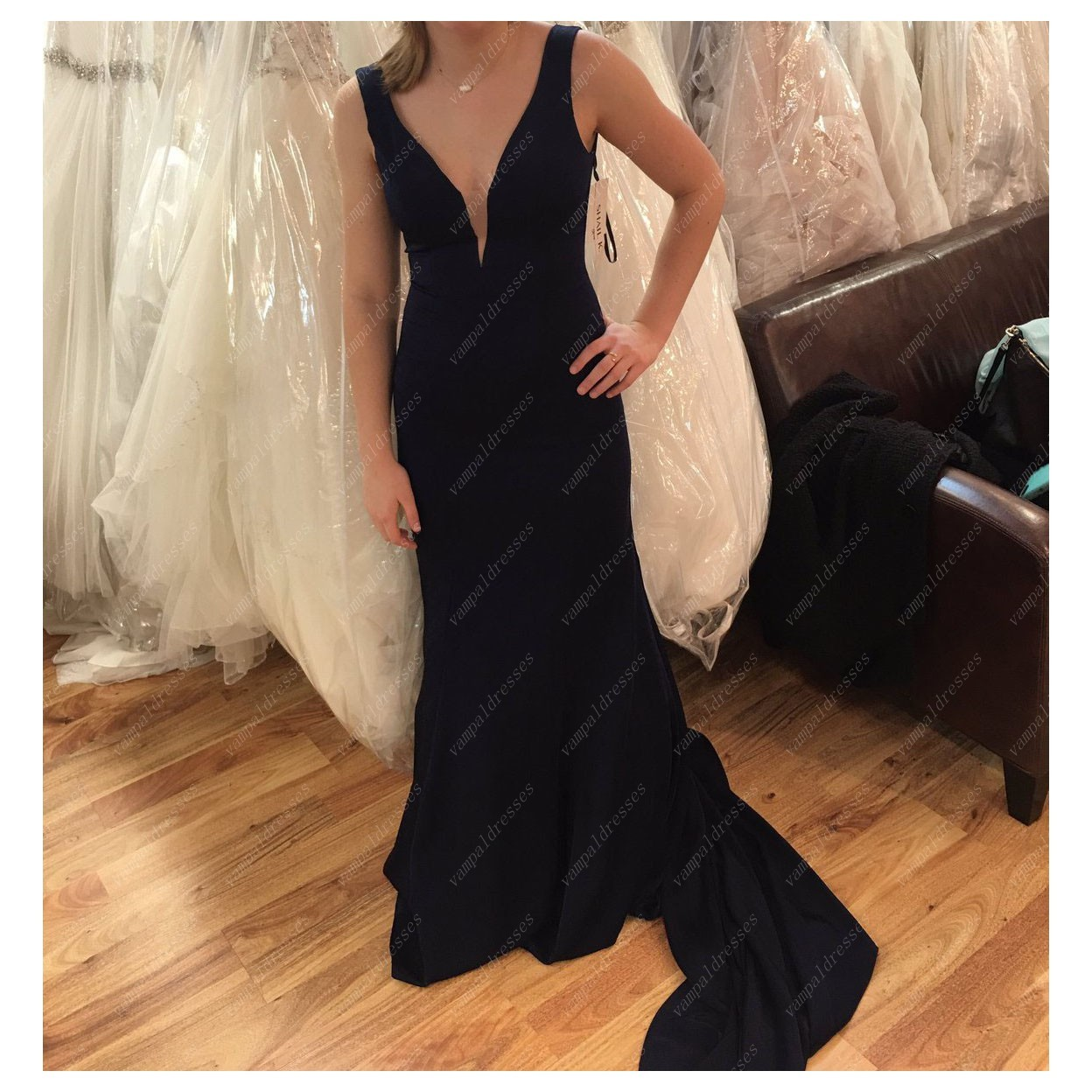 Primary image for Simple Sleeveless Black Deep V-Neck Satin Prom Dress With Open Back