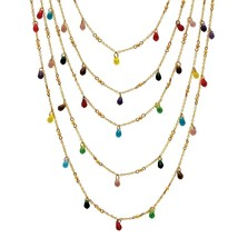 Multicolor Crystal Goldtone Metal Bead Waterfall Necklace - $21.82