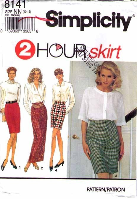 1992 SKIRTS Pattern 8141-s UNCUT Sizes 10-16 - UNCUT