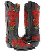 Womens Black Rose Floral Embroidered Leather Cowgirl Boots Western Snip Toe - €137,16 EUR