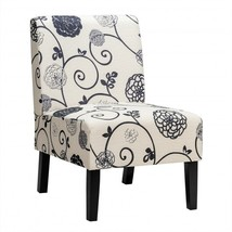 Armless Accent Chair  with Rubber Wood Legs -Black & White - Color: Blac... - $166.41
