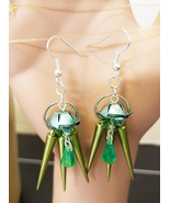 green flower bead drop earrings dangles spike charms handmade beaded jew... - $5.99
