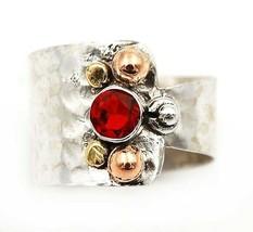 Three Tone- Fire Garnet 925 Solid Sterling Silver Ring Jewelry Sz 6.5, E... - $31.67