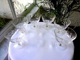 Set of 4 Noritake Heritage Pattern Clear Crystal Champagne Glasses Retired - $27.72
