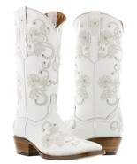 Cowboy Boots Women Wedding I Do Rhinestones Floral Paisley White Square Toe - €127,00 EUR