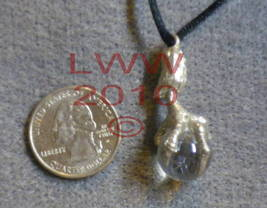 PEWTER Dragon Claw Talon Clear Orb Necklace Pendant~NEW - $7.85
