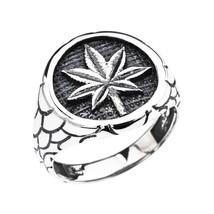 Herren Sterlingsilber Marihuana Blatt Cannabis Klumpen Ehering - $59.98