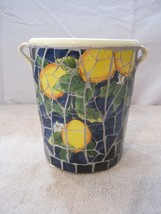"Mosaic Tile Blue Tiles with Lemons Clay Planter with Handles 7"" tall - $37.40"