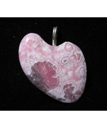 "Rhodochrosite Heart Pendant, pink red white, ""Red & Pink Beauty"", silver... - $68.50"