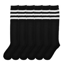 Angelina 6 Pair Pack Women's Knee High Socks Black With White Stripes 2539BS-W