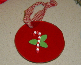 Paper Quilled Candy Cane on Red Glass Ornament, Handcrafted - $9.99