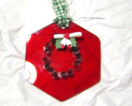 Paper Quilled Green Wreath on Red Glass Ornament, Handcrafted - $9.99