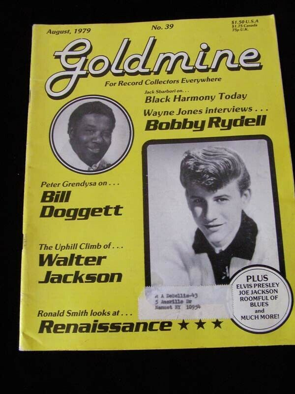 Goldmine Magazine August 1979 Bobby Rydell Bill Doggett  Elvis Presley Walter Ja
