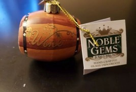 Kurt S Adler Noble Gems Wine Barrel Christmas Ornament New With Tags Free S&H  - $10.88