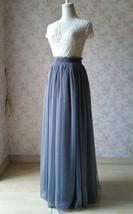 GRAY Wedding Bridesmaid Long Tulle Skirts High Waist Gray Full Tulle Skirt Plus  image 2