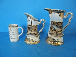 VINTAGE SET OF 2 PORCELAIN CERAMIC MINIATURE PITCHER HAMBURG SCENE W/ GO... - $29.69