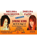 Imelda Papin and Melissa Manchester New Orleans Hotel Las Vegas Promo Card - $2.95
