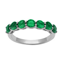 7 Stone Green CZ Stacking 925 Sterling Silver Stackable Half Eternity Ba... - $14.18